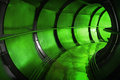 Green industrial sewerage tunnel interior Royalty Free Stock Photo