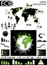 Green info graphic graphics collection charts world map vector elements in black and color Royalty Free Stock Photography