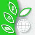 Green infograhpic background with symbols of renewable energy and earth planet eps Stock Photography
