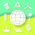 Green infograhpic background with symbols of renewable energy and earth planet eps Stock Photo