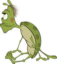 Green insect cartoon with the big eyes Stock Photo