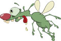 Green insect cartoon with a long tongue Stock Photos