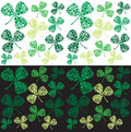 Green irish shamrocks background on white and black for st patricks day Royalty Free Stock Image