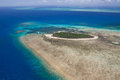 Green island in great barrier reef aerial view of Royalty Free Stock Photography