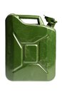 Green jerrycan a vintage and dirty isolated on white Royalty Free Stock Photos