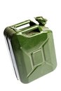 Green jerrycan a vintage and dirty isolated on white Royalty Free Stock Photography