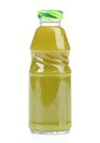 Green juice bottle on white background with clipping path Stock Images