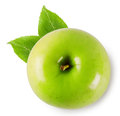 Green juicy ripe apple on white background Stock Photography