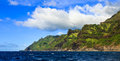 Green kauai coastline section of the rugged napali coast in hawaii islands Stock Photo