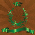 Green King Crown On Brown  Background. Stock Photos