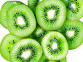 Green kiwi slices isolated on white as background Royalty Free Stock Photos