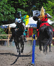 Green knight hits the red knight Stock Images