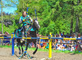 Green knight ring competition Royalty Free Stock Photo