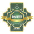 Green label vector discount icon Royalty Free Stock Photo