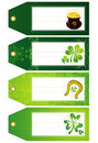 Green labels with shamrock, vector Stock Photos