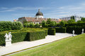 Green labyrinth in the garden of the Belvedere lower palace and Royalty Free Stock Photo