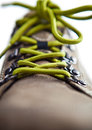 Green laces close up on a white background Stock Photography