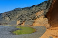 Green lake at el golfo the atb in lanzarote Stock Images