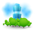 Green landscape with skyscraper vector illustration Stock Photo
