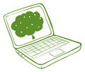 A green laptop with an image of a tree illustration on white background Royalty Free Stock Photos