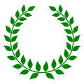 Green Laurel Wreath Stock Photo