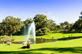 Green lawn with tree line people relax on at king s park perth western australia Royalty Free Stock Photo