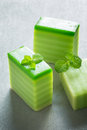 Green layer cakes malaysia steamed is a dessert from Stock Photos