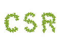 Green leaf corporate social responsibility isolated word Stock Photography