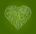 Green leaf, in the form of heart