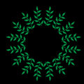 Green leaf frames embroidery stitches imitation on the black bac