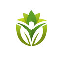 Green leaf and health care logo