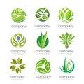 Green leaf and natural business corporate set element modern elegant ecology logo design Royalty Free Stock Photos