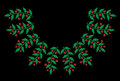 Green leaf with red berry embroidery stitches imitation on the b