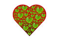 Green leaf in red heart shape isolated with clipping paths on w white background valentine concept Royalty Free Stock Photos