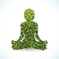 Green leaf shape, Yoga lotus position, vector illustration.