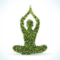 Green leaf yoga lotus position. Vector illustration