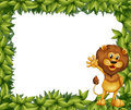 A green leafy border with a lion illustration of Royalty Free Stock Images