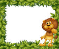 A green leafy frame with a lion illustration of Stock Photos