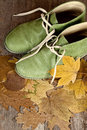 Green leather boots and yellow leaves Royalty Free Stock Images