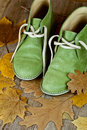 Green leather boots and yellow leaves Royalty Free Stock Photography