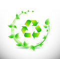 Green leaves around a recycle symbol illustration design over white background Royalty Free Stock Photos