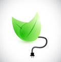 Green leaves and cable illustration design over a white background Royalty Free Stock Photos