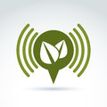 Green leaves ecological theme icon, vector conceptual unusual sy Royalty Free Stock Photo