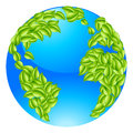 Green Leaves Globe Earth World Concept Royalty Free Stock Photo