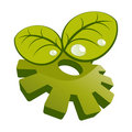 Green leaves and green gear Royalty Free Stock Image