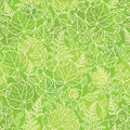 Green leaves lineart texture seamless pattern vector background with hand drawn elements Royalty Free Stock Photos