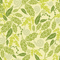 Green leaves seamless pattern background vector with abstract plants with fun and branches forming a floral texture Royalty Free Stock Images
