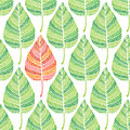 Green leaves seamless pattern romantic vector background with skeletons of Royalty Free Stock Image