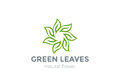 Green Leaves Star Logo design vector template