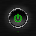 Green LED power button Royalty Free Stock Photo